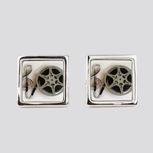 Clef and Film Reel by Leslie Harl Square Cufflinks