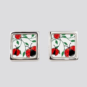 Delicate Ladybugs on Graceful Lea Square Cufflinks