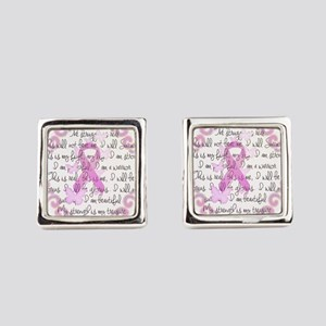 Pink Ribbon, the Fight Square Cufflinks