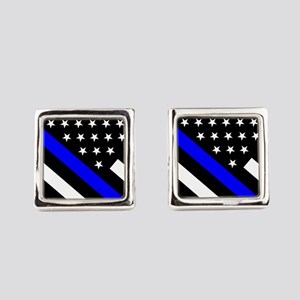 Police Flag: Thin Blue Line Square Cufflinks