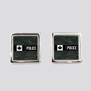 Canadian Police: Black Camouflage Square Cufflinks