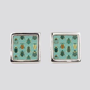 Scarab Beetle Pattern Blue and Brown Square Cuffli