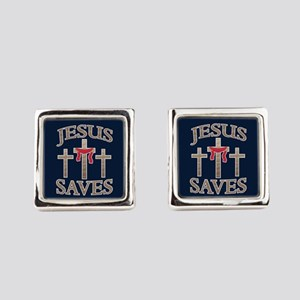 Jesus Saves Square Cufflinks