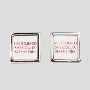 SHE-BELIEVED-SHE-COULD-OPT-RED Square Cufflinks