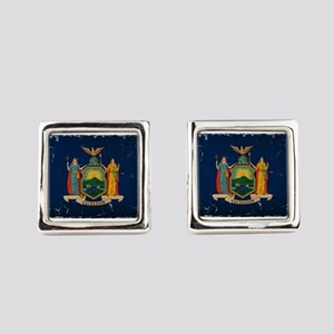 New York State Flag VINTAGE Square Cufflinks