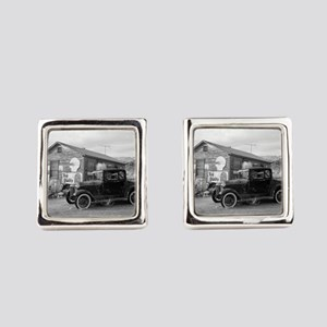 Days Gone By Antique Car And Gas Square Cufflinks