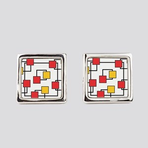 Red and Yellow Squares Square Cufflinks