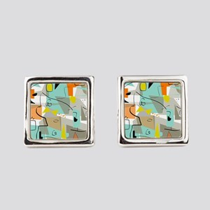 Mid-Century Modern Abstract Square Cufflinks