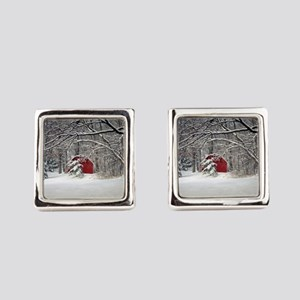 Red Barn in the Snow 2011 Square Cufflinks