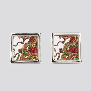 Decorated Cobra Snake with Roses Square Cufflinks