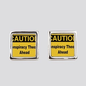 Caution Conspiracy Theory Ahead Square Cufflinks