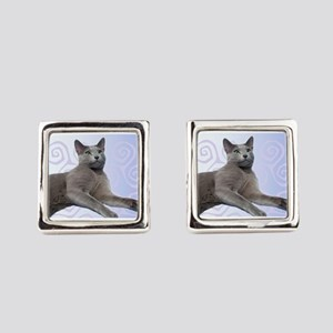 Russian Blue Cat Square Cufflinks
