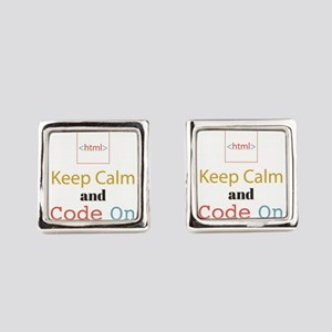 Keep Calm and Code On Square Cufflinks