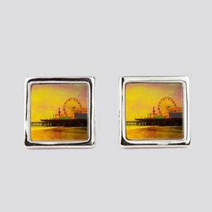 Yellow Santa Monica Pier Square Cufflinks