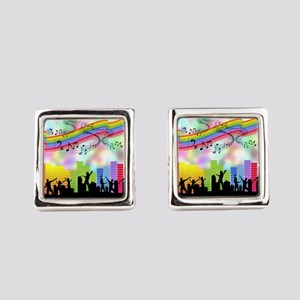 Colorful Musical Theme Square Cufflinks