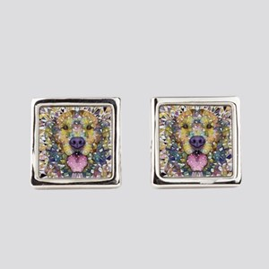 Rainbow Dog Square Cufflinks