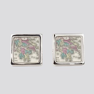 Vintage Map of Greece (1855) Square Cufflinks