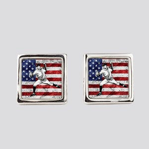 Baseball Player On American Flag Square Cufflinks