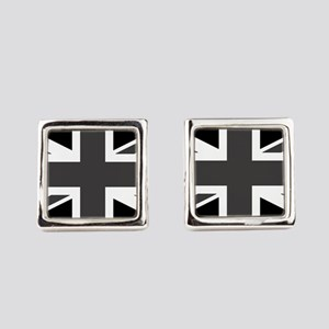 Union Jack - Black and White Square Cufflinks