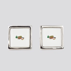 Camping Trailer Square Cufflinks