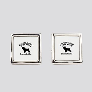 Sleep With Brussels Griffon Dog D Square Cufflinks