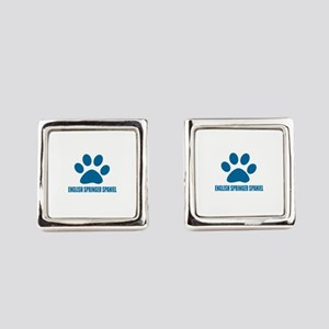 English Springer Spaniel Dog Desi Square Cufflinks