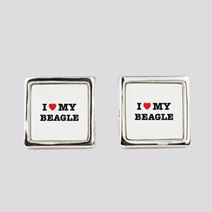 I Heart My Beagle Square Cufflinks