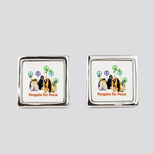 Penguins For Peace Square Cufflinks