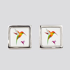 Colorful Hummingbirds Birds Square Cufflinks