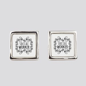 Hand-Drawn Wreath Social Worker Square Cufflinks