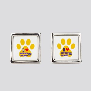 I Love Berger Picard Dog Square Cufflinks