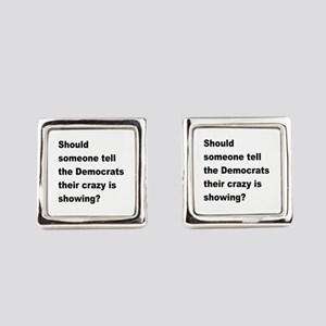 Democrat Crazy Showing Square Cufflinks