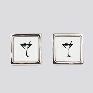 Abstract Martini Glass Square Cufflinks