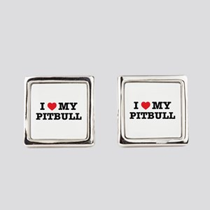 I Heart My Pitbull Square Cufflinks