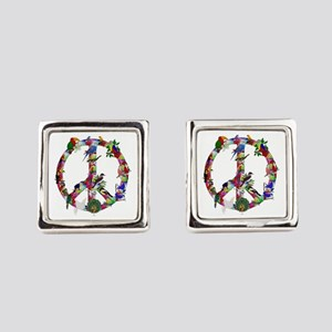 Colorful Birds Peace Sign Square Cufflinks