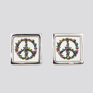 Butterfly Peace Symbol Square Cufflinks
