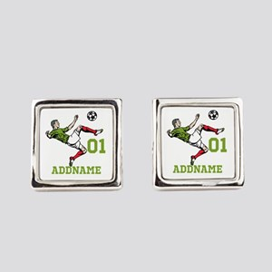Customizable Soccer Square Cufflinks