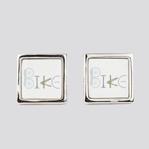 Bike Word From Bike Parts Square Cufflinks