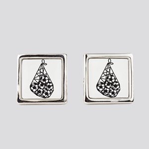 Soccer Ball Bag Square Cufflinks