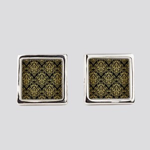 DAMASK1 BLACK MARBLE & GOLD BRUSH Square Cufflinks