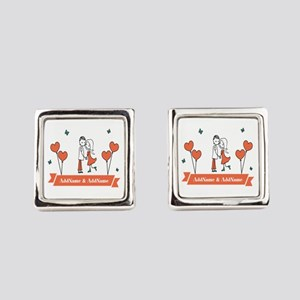 Personalized Names Couple Hearts Square Cufflinks