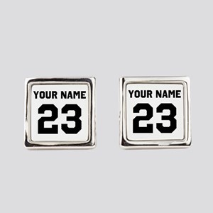 Customize sports jersey number Square Cufflinks
