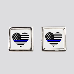 Thin Blue Line Love Square Cufflinks