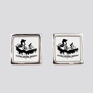 Mountain Biking Good Time Square Cufflinks