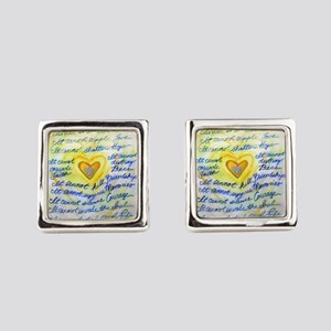 Blue & Gold Heart Cancer Square Cufflinks
