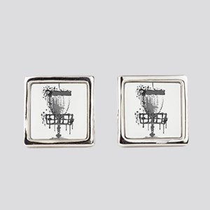 Splatter Disc Golf Basket Square Cufflinks