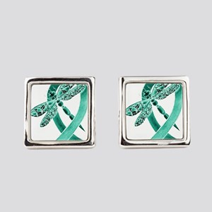 Teal Ribbon Square Cufflinks