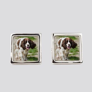 walking english springer spaniel Square Cufflinks