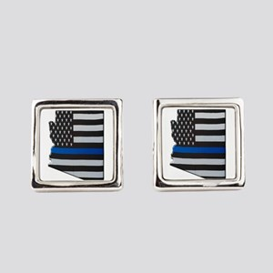 Arizona Thin Blue Line Map Square Cufflinks