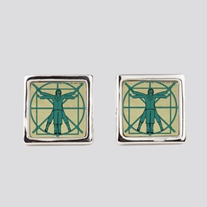 Vitruvian Man at the Wheel Cufflinks